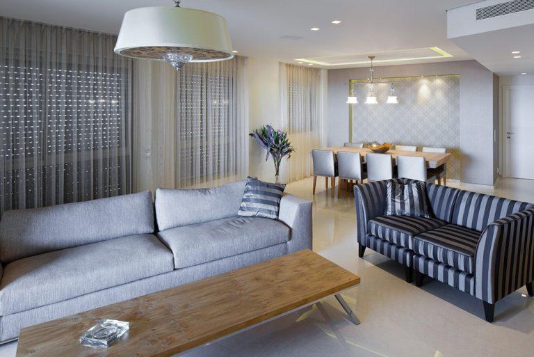 עיצוב סלון בדירת פנטהאוז - רחלי יעיש מעצבת פנים