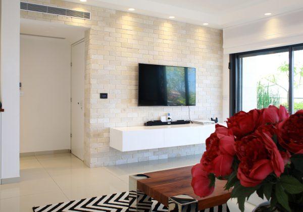 עיצוב סלון עם קיר טלוויזיה ייחודי